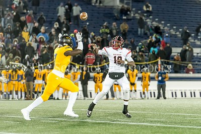 12/9/2016 - Wise defensive back Isaac Ukwu gets close to Quince Orchard quarterback Doc Bonner in the Maryland 4A Championship game between Quince Orchard and Wise, ©2016 Jacqui South Photography