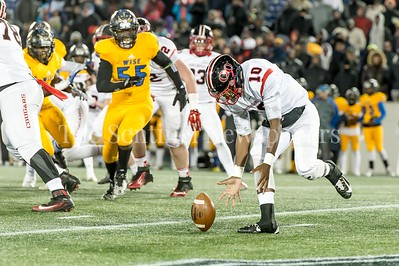 12/9/2016 - QO quarterback Doc Bonner fumbles in the 1st half in the Maryland 4A Championship game between Quince Orchard and Wise, ©2016 Jacqui South Photography