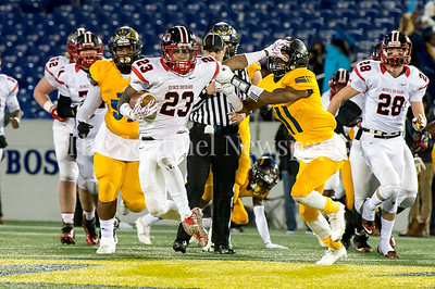 12/9/2016 - Marvin Beander (23) carries the ball for Quince Orchard pushing Wise safety Demetri Morsell (11) out of his way in the Maryland 4A Championship game between Quince Orchard and Wise, ©2016 Jacqui South Photography