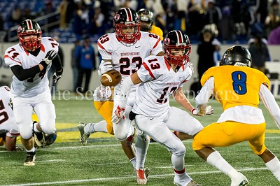 12/9/2016 - The ball comes loose from runningback Marvin Beander (23) during the Maryland 4A Championship game between Quince Orchard and Wise, ©2016 Jacqui South Photography