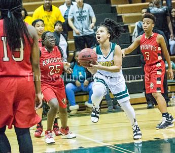 ThelmaOlobo (25), SashaBrandon (2), AhmyriaJones (3), 12 12 2016 JF Kennedy v Wheaton Girls Varsity Basketball