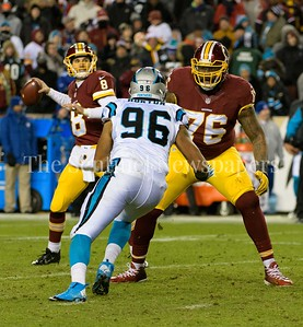 Kirk Cousins has time in the pocket to unload a pass to Vernon Davis.