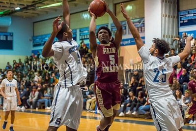 1/5/2018 - Paint Branch guard Richard Dudley (5) shoots between Springbrook defenders Anthony Desruisseau (5) & Markell McDaniels (25), ©2018 Jacqui South Photography