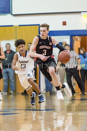 1/5/2017 - Johnny Fierstein (3) brings the ball upcourt on a fast break for Quince Orchard. Fierstein finished the game with 14 points, ©2016 Jacqui South Photography