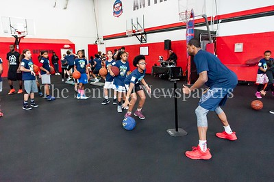 1/7/2017 - Pat Robinson works on dribbling drills with campers during the Skylar Diggins Camp at the Pat the Roc Academy in Rockville, MD, ©2017 Jacqui South Photography