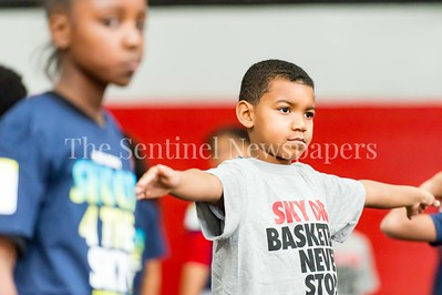 1/7/2017 - campers stretch during the Skylar Diggins Camp at the Pat the Roc Academy in Rockville, MD, ©2017 Jacqui South Photography