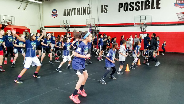 1/7/17 - Campers warm up at the Skylar Diggins clinic at the Pat the Roc Academy in Rockville, MD, ©2017 Jacqui South Photography