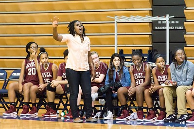 1/19/2017 - Paint Branch head coach Rochelle Coleman calls the play from the bench, ©2017 Jacqui South Photography