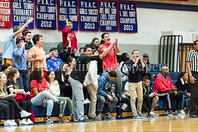 1/26/2017 - Charles E Smith Jewish Day School student section enjoying the Lions victory over Sandy Spring Friends School, ©2017 Jacqui South Photography