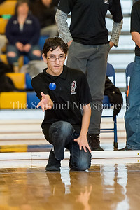 2/4/2017 - Northwood's Anthony Ricci tosses the pallina in the Montgomery County Bocce Championship match vs. Wootton High School, ©2017 Jacqui South Photography