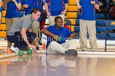 2/4/2017 - Wootton Head Coach Steven McMahon looks on as Michael Payne tosses the ball in the Montgomery County Bocce Championship game vs. Northwood High School, ©2017 Jacqui South Photography