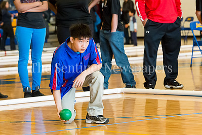 2/4/2017 - Paul Chung throws for Wootton High School Montgomery County Bocce Championship, ©2017 Jacqui South Photography