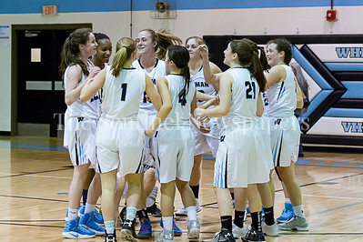 2/7/2017 - Whitman Girls Basketball celebrates Abby Meyers breaking the all-time scoring record at Whitman HS, 1,565 points in the February 7th game against Richard Montgomery HS, ©2017 Jacqui South Photography