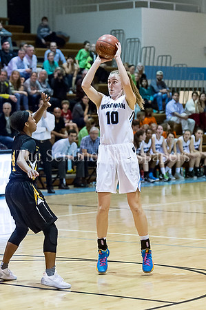 2/7/2017 - Abby Meyers scores the shot that breaks the all-time scoring record at Whitman High School, 1,565 points, ©2017 Jacqui South Photography