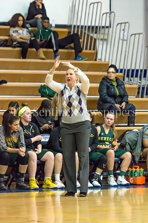 2/14/2017 - Seneca Valley head coach Jennifer Hoffmann calls a time out, ©2017 Jacqui South Photography