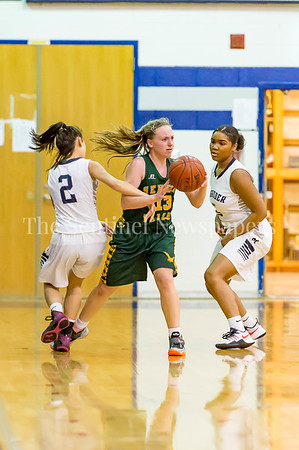 2/14/2017 - Seneca Valley guard Hannah Hines (13) double-teamed by Magruder defenders Lakin Mathis (2) and Laila Grant (5), ©2017 Jacqui South Photography