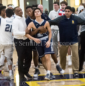 Georgetown Prepartory School Anthony Scafide (2), is carried off the court after game, 02 18 2017 IAC Championship Basketball Game. Georgetown Prep, v Bullis