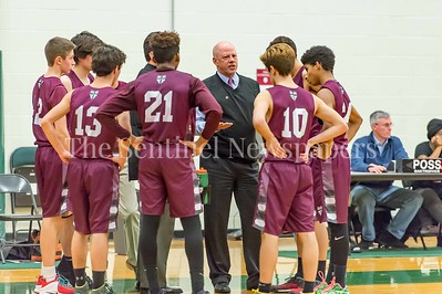 2/21/2017 - St Anselm's Head Coach Paul Grenaldo with the team during a time out, ©2017 Jacqui South Photography