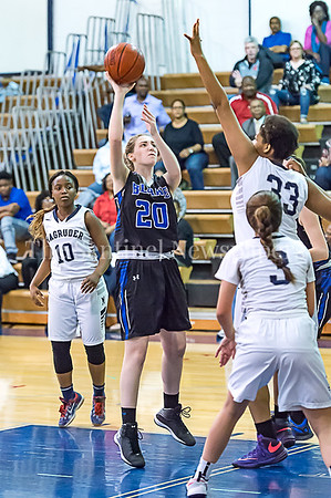 2/24/2017 - Blake forward Nicole Stock (20) shoots over Magruder defender Christian Smith (33), ©2017 Jacqui South Photography