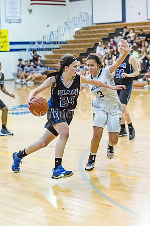 2/24/2017 - Blake's Lauren McGinn (24) guarded by Magruder's Kenz Baryoun (3), ©2017 Jacqui South Photography