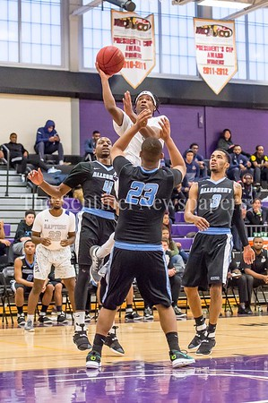 2/25/2017 - Chris Johnson (1) shoots over Cameron Bailey (23), Allegheny CC v Montgomery CC Mens, ©2017 Jacqui South Photography