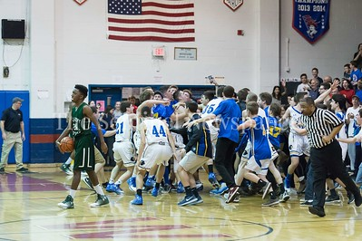 2/25/2017 - Jewish Day School fans storm the court after the Lions defeat Sandy Spring for the PVAC Championship, ©2017 Jacqui South Photography