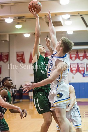 2/25/2017 - Milos Apic shoots over Brian Knapp during the PVAC Championship, ©2017 Jacqui South Photography