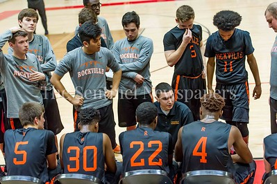 2/25/2017 - Rockville Head Coach Todd Dembroski meets with the team during a time out, ©2017 Jacqui South Photography