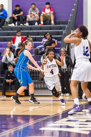 2/25/2017 - Montgomery College point guard Jewell Johnson (4) gets open for the inbound pass from teammate Sheri Addison (12), ©2017 Jacqui South Photography
