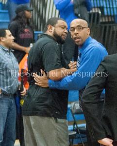 Watkins Mill High School head coach Jay Tringone, Blake High School head coach Marcus Wiggins, 02 28 2017 Watkins Mill v Blake High Schools Boys Varsity Basketball