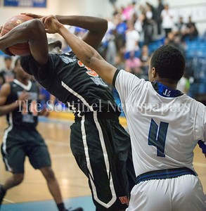 Watkins Mill High School Anthony Bailey (3), Blake High School forward Ramsey Shane (4), 02 28 2017 Watkins Mill v Blake High Schools Boys Varsity Basketball
