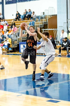 2/28/2017 - Rockville point guard Michael Mantzouranis (44) and Magruder defender Travis Crandall (5), Maryland 3A South Round 2 Playoffs - Rockville v Magruder , ©2017 Jacqui South Photography