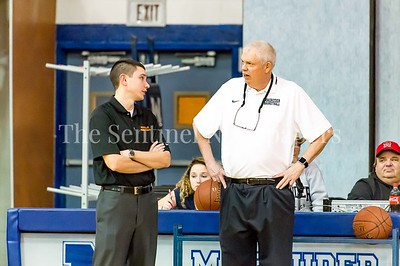 2/28/2017 - Coaches Todd Dembroski (Rockville) and Dan Harwood (Magruder). Dembroski is in his first year as head coach at Rockville High School. Previously he was JV coach and assistant varsity coach for Harwood at Magruder. Maryland 3A South Round 2 Playoffs - Rockville v Magruder , ©2017 Jacqui South Photography