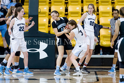 3/9/2017 - Roosevelt's Makayla Adams (11) and Whitaman's Elizabeth Holden (3) fight for a rebound in the Maryland 4A Girls Semi-Final - Roosevelt v Whitman, ©2017 Jacqui South Photography