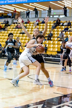 3/9/2017 - Player control foul called on Whitman foward Elizabeth Holden (3) against Roosevelt defender Nia Scott in the Maryland 4A Girls Semi-Final - Roosevelt v Whitman, ©2017 Jacqui South Photography
