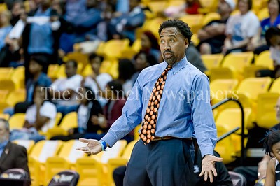 3/9/2017 - Eleanor Roosevelt Head Coach Delton Fuller in the  Maryland 4A Girls Semi-Final - Roosevelt v Whitman, ©2017 Jacqui South Photography