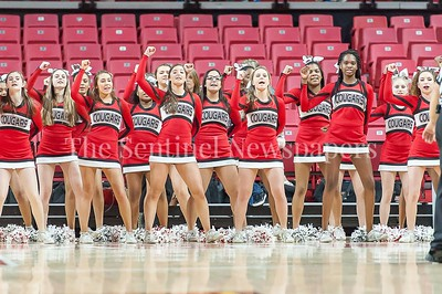 3/9/2017 - Quince Orchard cheerleaders during the Maryland 4A Boys Semi-Final - Quince Orchard v Wise, ©2017 Jacqui South Photography