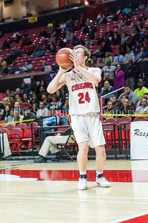 3/9/2017 - Quince Orchard forward Colin Crews' 3-point shot puts the Cougars ahead of the Pumas 48-46 with just over a minute to play in the Maryland 4A Boys Semi-Final - Quince Orchard v Wise, ©2017 Jacqui South Photography