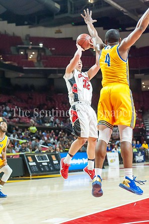 3/9/2017 - Quince Orchard forward jake Feidelman (32) shoots over Wise defender Darron Barnes (4) in the Maryland 4A Boys Semi-Final - Quince Orchard v Wise, ©2017 Jacqui South Photography