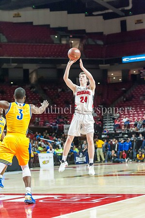 3/9/2017 - Quince Orchard forward Colin Crews (24) shoots a 3-point shot in the Maryland 4A Boys Semi-Final - Quince Orchard v Wise, ©2017 Jacqui South Photography