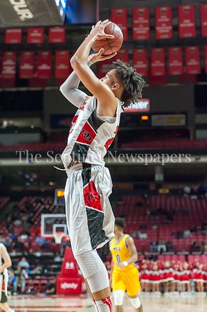 3/9/2017 - Quince Orchard forward Daniel Dorsey (22) shoots a baseline jump shot in the Maryland 4A Boys Semi-Final - Quince Orchard v Wise, ©2017 Jacqui South Photography