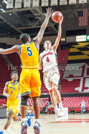 3/9/2017 - Quince Orchard guard Matt Kelly (4) shoots over Wise defender Michael Speight (5) in the Maryland 4A Boys Semi-Final - Quince Orchard v Wise, ©2017 Jacqui South Photography