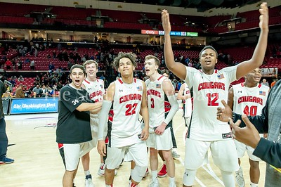3/8/2016 - Quince Orchard HS boys basketball team celebrates their victory over Wise in the Maryland 4A Boys Semi-Final game, ©2017 Jacqui South Photography