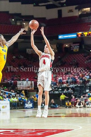 3/9/2017 - Quince Orchard gurad Matt Kelly shoots a jump shot in the Maryland 4A Boys Semi-Final - Quince Orchard v Wise, ©2017 Jacqui South Photography