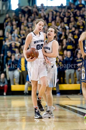 3/11/2017 - Some game strategy between Olivia Meyers (00) and Elizabeth Holden (3) in the Maryland Girls 4A Championship - Catonsville v Whitman, ©2017 Jacqui South Photography