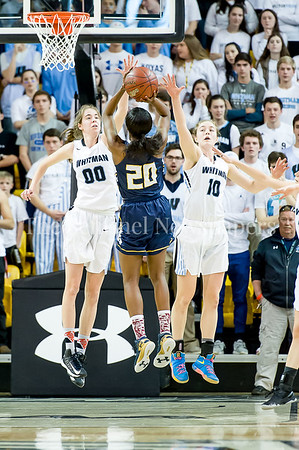 3/11/2017 - Olivia Meyers (00) and Abby Meyers (10 get hands up in front of a shot by Catonsville guard Jasmine Dickey (20) in the Maryland Girls 4A Championship - Catonsville v Whitman, ©2017 Jacqui South Photography