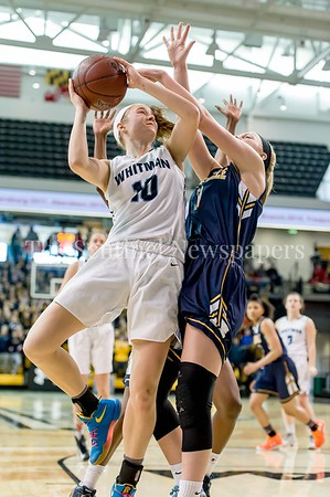 3/11/2017 - Abby Meyers (10) is fouled on this shot by Jen Gast (3) in the Maryland Girls 4A Championship - Catonsville v Whitman, ©2017 Jacqui South Photography