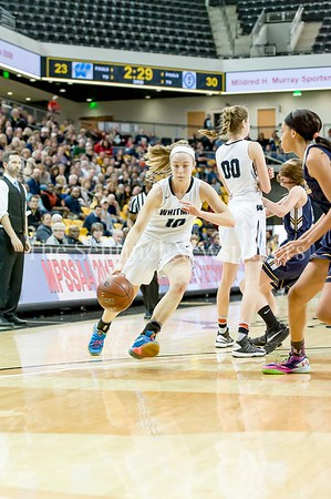 3/11/2017 - Abby Meyers (10) gets around a screen set by sister Olivia in the Maryland Girls 4A Championship - Catonsville v Whitman, ©2017 Jacqui South Photography