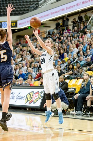 3/11/2017 - Elyse Lowet (24) shoots a 3-point shot in the Maryland Girls 4A Championship - Catonsville v Whitman, ©2017 Jacqui South Photography