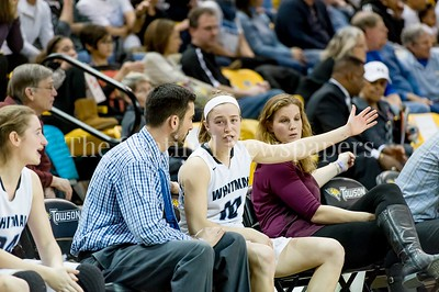 3/11/2017 - After fouling out, Abby Meyers sits with assistant coach Mike Fitzpatrick in the Maryland Girls 4A Championship - Catonsville v Whitman, ©2017 Jacqui South Photography